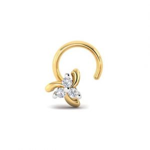 Diamond Nose Pin (0.03 ct), 18 Kt Yellow Gold Jewellery