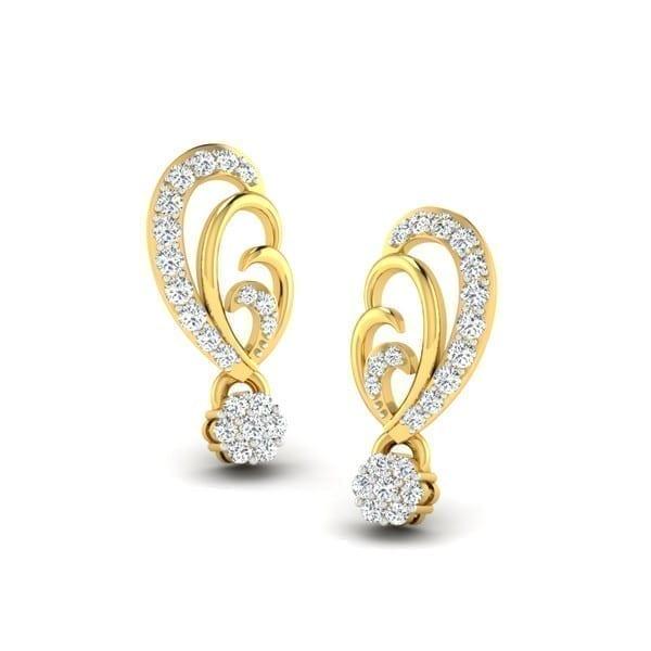 Diamond Earring in 18Kt Gold (2.200 gram) with Diamonds (0.24 Ct)