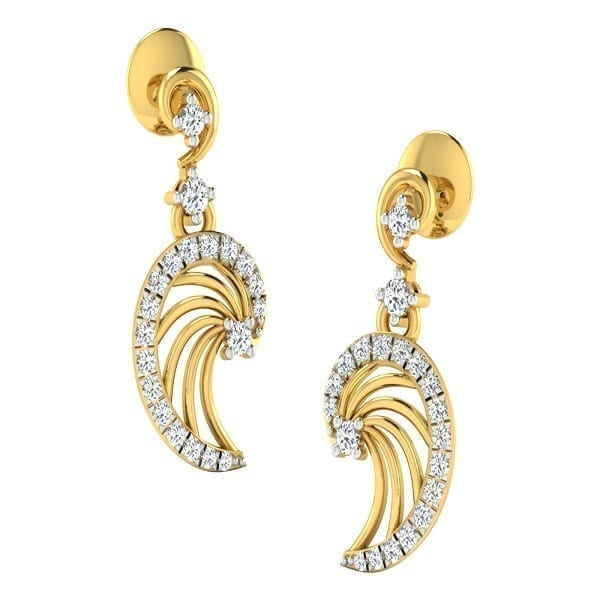 Diamond Earring in 18Kt Gold (2.300 gram) with Diamonds (0.23 Ct)