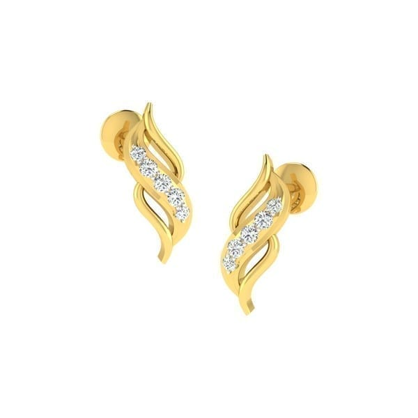 Diamond Earring in 18Kt Gold (1.200 gram) with Diamonds (0.10 Ct)
