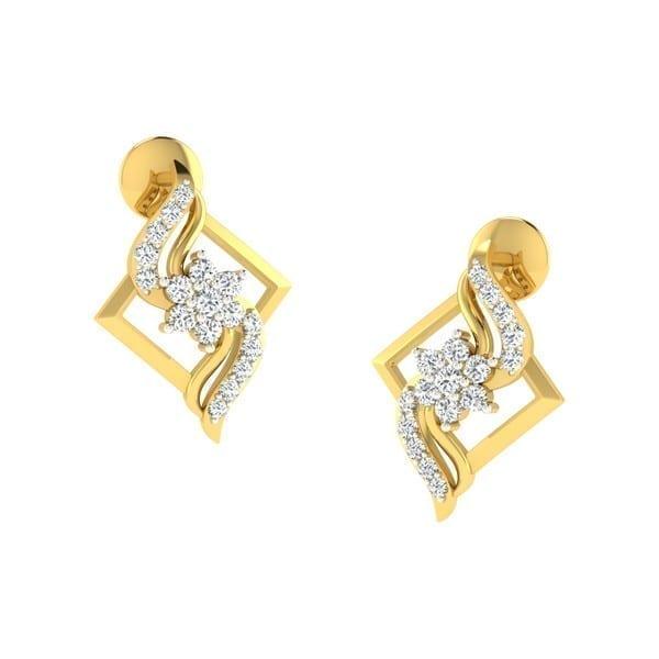 Diamond Earring in 18Kt Gold (1.600 gram) with Diamonds (0.19 Ct)