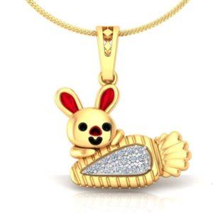 Diamond Pendant In 18Kt Gold(2.330 Gram)With Diamonds(0.06 Ct) for Kids