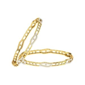 Diamond Bangles In 18Kt Gold(18.720 Gram)With Diamonds(1.40 Ct)