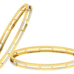 Diamond Bangles In 2-Tone 18Kt Gold(21.680 Gram)With Diamonds(1.61 Ct)