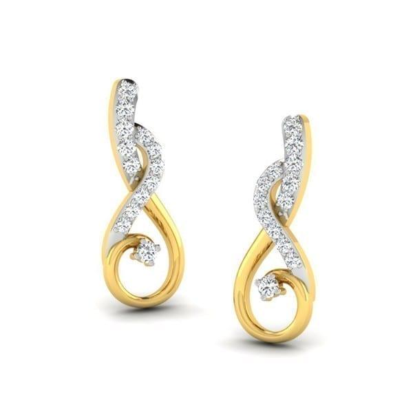Diamond Earring in 18Kt Gold (2.300 gram) with Diamonds (0.14 Ct)