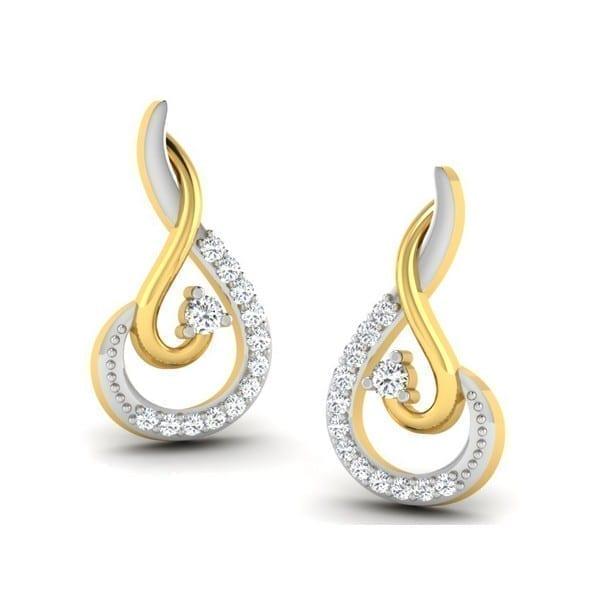 Diamond Earring in 18Kt Gold (2.100 gram) with Diamonds (0.13 Ct)