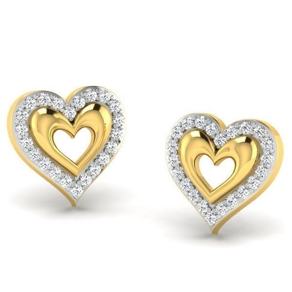 Diamond Earring in 18Kt Gold (2.800 gram) with Diamonds (0.18 Ct)