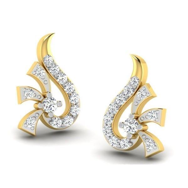 Diamond Earring in 18Kt Gold (2.000 gram) with Diamonds (0.16 Ct)