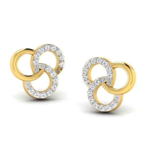 Diamond Earring in 18Kt Gold (1.950 gram) with Diamonds (0.13 Ct)