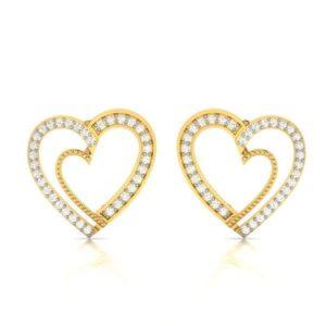 Diamond Earring in 18Kt Gold (2.000 gram) with Diamonds (0.20 Ct)