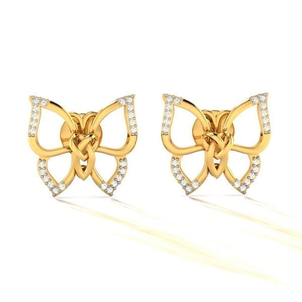 Diamond Earring in 18Kt Gold (3.700 gram) with Diamonds (0.14 Ct)