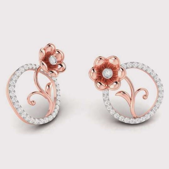 Diamond Earring in 18Kt Gold (3.120 gram) with Diamonds (0.19 Ct)