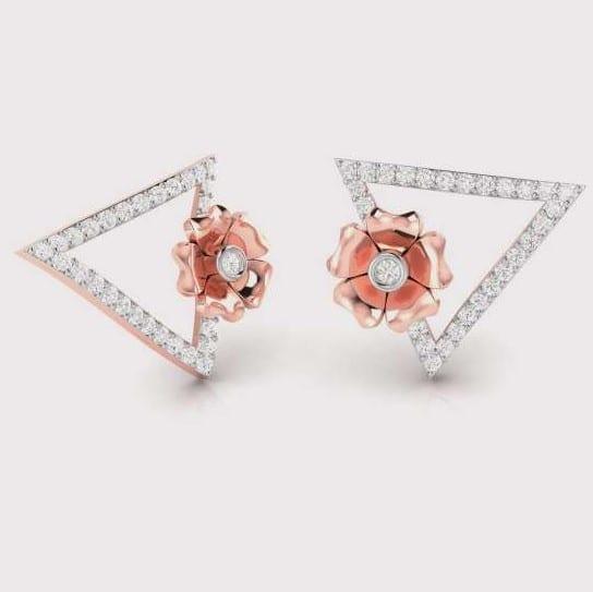 Diamond Earring in 18Kt Gold (2.320 gram) with Diamonds (0.18 Ct)