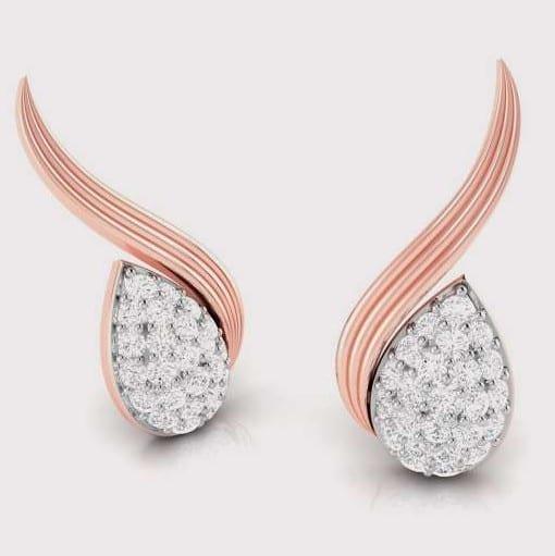 Diamond Earring in 18Kt Gold (1.520 gram) with Diamonds (0.18 Ct)