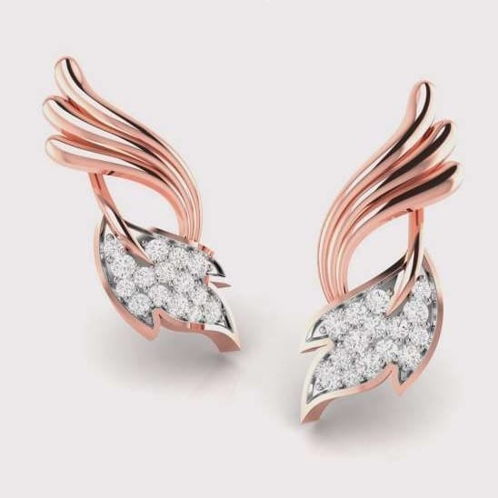 Diamond Earring in 18Kt Gold (2.500 gram) with Diamonds (0.16 Ct)