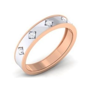 Diamond Ring In Dual tone 18Kt Gold (4.280 Gram) With Diamonds (0.22 Ct) For Men