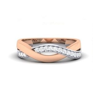 Diamond Ring in 2-tone 18Kt Gold (3.030 gram) with Diamonds (0.27 Ct) for Women