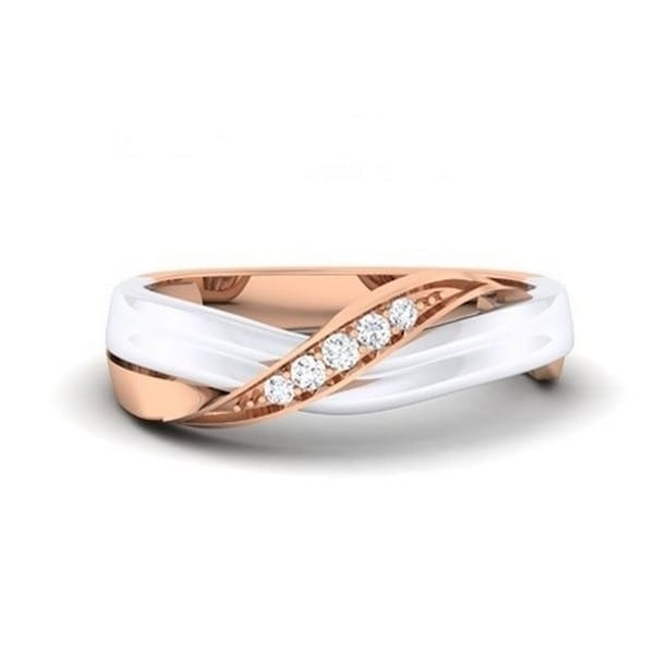 Diamond Ring in 2-tone 18Kt Gold (4.000 gram) with Diamonds (0.06 Ct) for Women