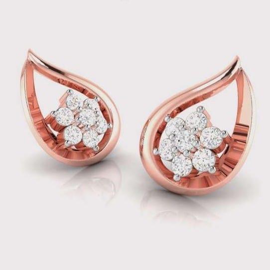 Diamond Earring in 18Kt Gold (1.610 gram) with Diamonds (0.18 Ct)