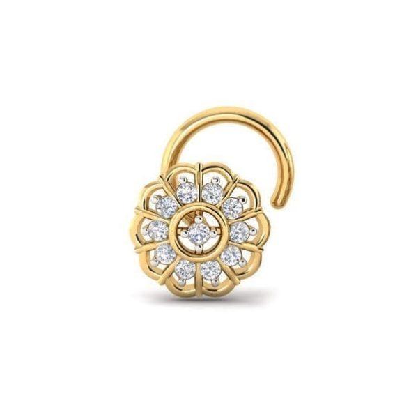 Diamond Nose Pin (0.07 ct), 18 Kt Yellow Gold Jewellery