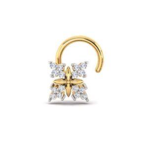 Diamond Nose Pin (0.08 ct), 18 Kt Yellow Gold Jewellery