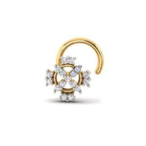 Diamond Nose Pin (0.06 ct), 18 Kt Yellow Gold Jewellery