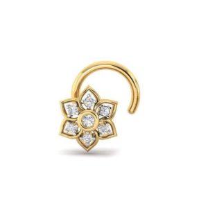Diamond Nose Pin (0.04 ct), 18 Kt Yellow Gold Jewellery