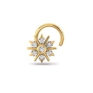 Diamond Nose Ring (0.04 ct), 18 Kt Yellow Gold Jewellery