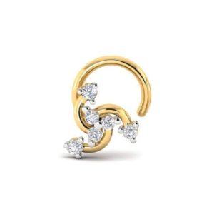 Diamond Nose Pin (0.10 ct), 18 Kt Yellow Gold Jewellery