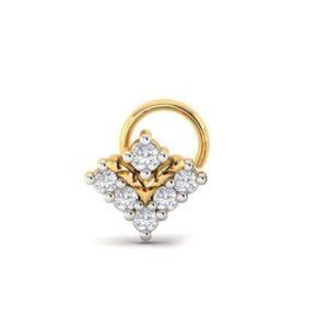 Diamond Nose Pin (0.14 ct), 18 Kt Yellow Gold Jewellery