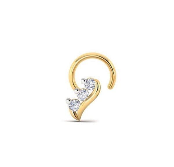 Diamond Nose Pin (0.05 ct), 18 Kt Yellow Gold Jewellery
