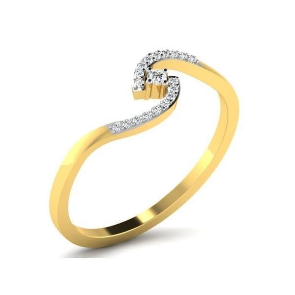 Diamond Ring in 18Kt Gold (1.280 gram) with Diamonds (0.09 Ct) for Women