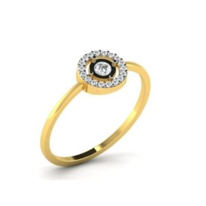 Diamond Ring in 18Kt Gold (1.030 gram) with Diamonds (0.30 Ct) for Women