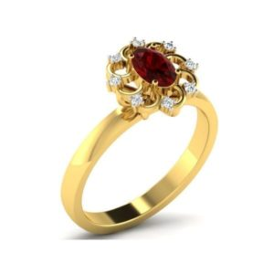Diamond Ring with synthetic ruby in 18Kt Gold (3.430 gram) with Diamonds (0.05 Ct) for Women