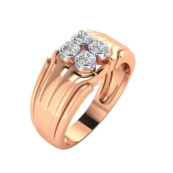 Diamond Ring In 18Kt Gold (6.890 Gram) With Diamonds (0.54 Ct) For Men