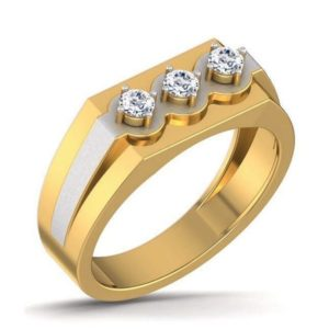Diamond Ring In dual tone 18Kt Gold (8.340 Gram) With Diamonds (0.32 Ct) For Men