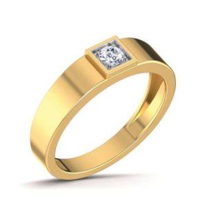 Diamond Ring In 18Kt Gold (5.370 Gram) With Diamonds (0.16 Ct) For Men