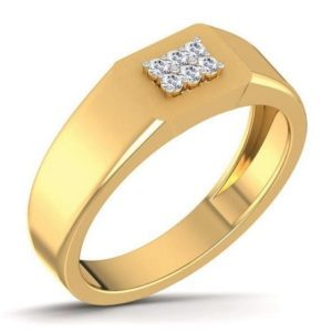 Diamond Ring In 18Kt Gold (4.970 Gram) With Diamonds (0.13 Ct) For Men