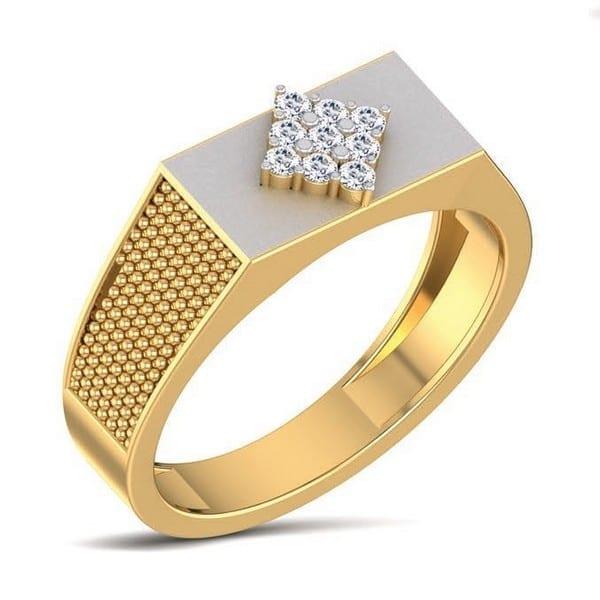 Diamond Ring In 18Kt Gold (6.970 Gram) With Diamonds (0.17 Ct) For Men