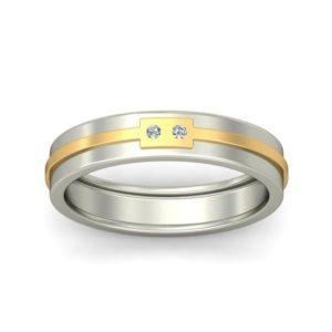 Diamond Ring In 2-tone 18Kt Gold (4.990 Gram) With Diamonds (0.03 Ct) For Men