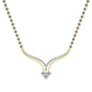Diamond Mangalsutra In 18Kt Gold(3.510 gram)with Diamonds(0.46 Ct)