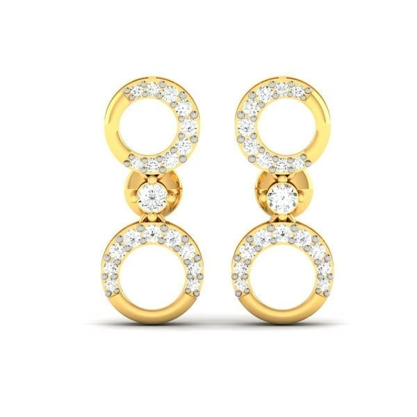 Diamond Earring in 18Kt Gold (2.440 gram) with Diamonds (0.30 Ct)