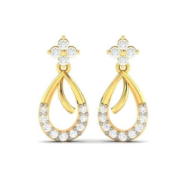 Diamond Earring in 18Kt Gold (2.500 gram) with Diamonds (0.22 Ct)