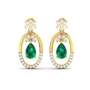 Diamond Earring With Synthetic Emerald In 18Kt Gold (3.290 Gram) With Diamonds (0.33 Ct)