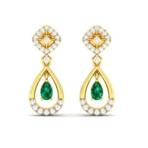 Diamond Earring with synthetic emerald in 18Kt Gold (2.910 gram) with Diamonds (0.26 Ct)