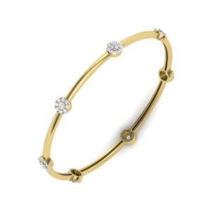 Diamond Bangles In 18Kt Gold(13.700 Gram)With Diamonds(1.47 Ct)