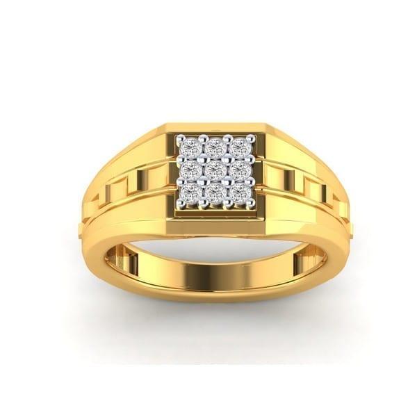 Diamond Ring In 18Kt Gold (3.950 Gram) With Diamonds (0.25 Ct) For Men