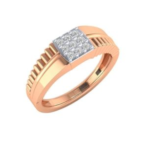 Diamond Ring In 18Kt Gold (3.950 Gram) With Diamonds (0.27 Ct) For Men