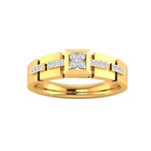 Diamond Ring In 18Kt Gold (3.460 Gram) With Diamonds (0.22 Ct) For Men