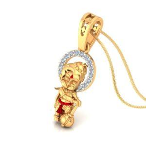 Diamond Pendant In 18Kt Gold(1.220 Gram)With Diamonds(0.06 Ct) For Kids